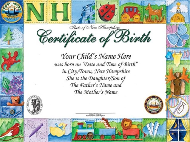 Sample of Heirloom Birth Certificate